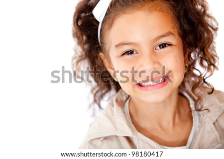 Happy girl portrait smiling - isolated over a white background