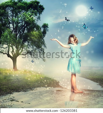 Happy Girl with Blue Butterflies at a Magical Brook