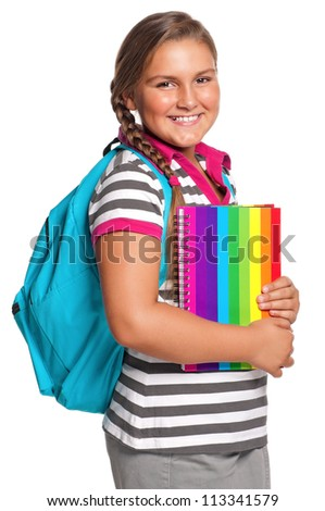 Happy girl with exercise book isolated on white background