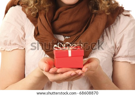 happy girl with gift box isolated on white background