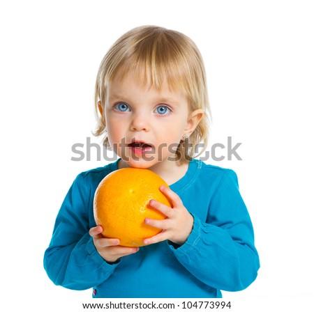 Happy girl with orange, isolated on white background
