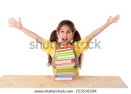 Happy girl with pile of books, isolated on white