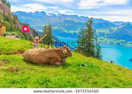 Happy girl with Swiss flag near a cow in alpine meadow along Rigi-Scheidegg railway with spectacular views of Swiss Alps, Schwyz basin, Lake Lucerne. Tourism in Canton of Lucerne, Central Switzerland. Stock fotó ©