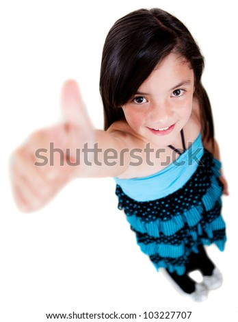 Happy girl with thumbs up - isolated over a white background