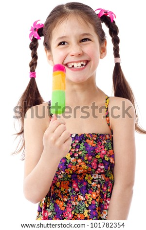 Happy girl with water ice cream, isolated on white