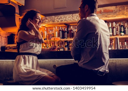 Happy girlfriend. Happy girlfriend wearing white dress feeling relaxed spending time with her man #1403459954