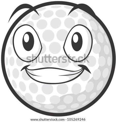 Happy Golf Ball Illustration
