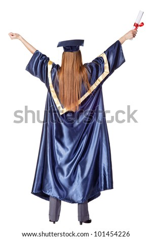 Happy Grad with diploma. Rear view. Isolated over white