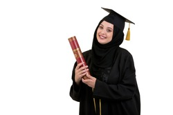 Happy graduate arabic muslim student with diploma