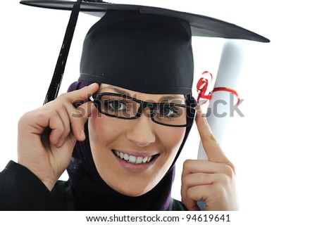 Happy graduate arabic  muslim student with diploma