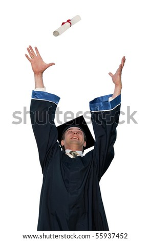 happy graduate student in cloak throwing up a diploma isolated