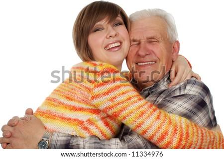 happy grandchild hugs a happy grandad. isolated on white