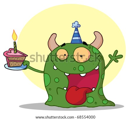Happy Green Birthday Monster Wearing A Party Hat And Holding A Slice Of Cake