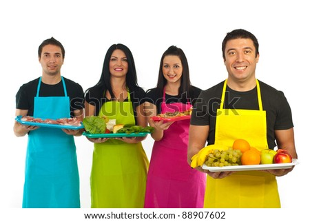 Happy greengrocer man in front of image and his market workers team with food in background