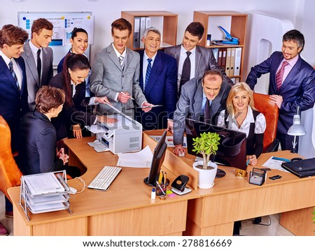 Happy group business people in office. Top view.