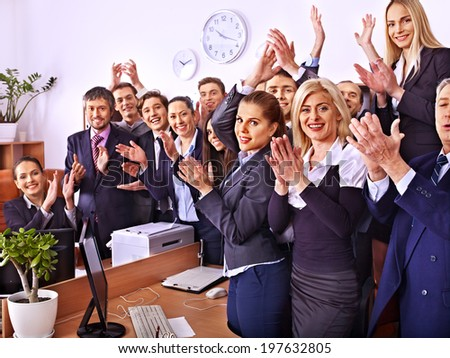 Happy group business people with hand together in office.