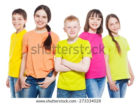Happy group children isolated at white background Smiling teen Friendship boys and girls