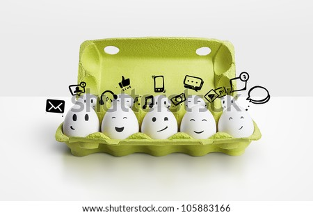 Happy group eggs smileys, concept of social network