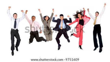 happy group of business people jumping - isolated over a white background