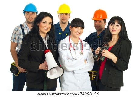 Happy group of different careers people  isolated on white background