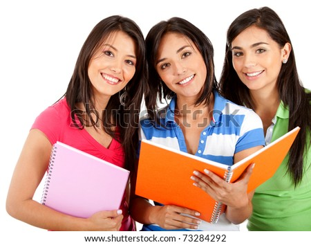 Happy group of female students - isolated over white
