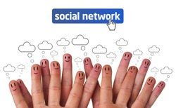 Happy group of finger faces as social network with speech bubbles