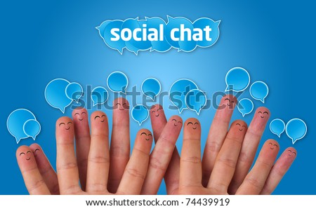 Happy group of finger faces with social chat sign and speech bubbles