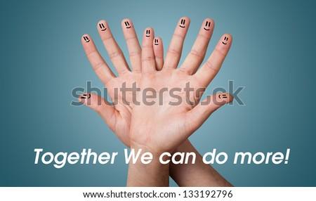 Happy group of finger smileys