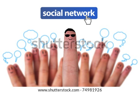Happy group of finger smileys as social network with speech bubbles