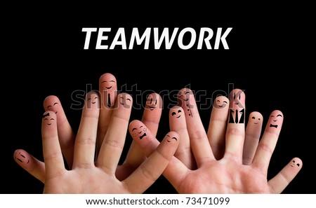 Happy group of finger smileys 3 (teamwork theme)