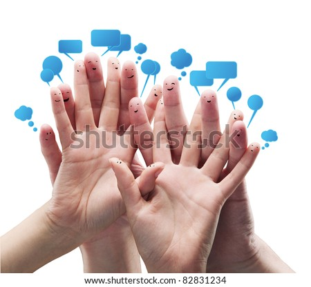 Happy group of finger smileys with social chat sign and speech bubbles.Isolated on a white background
