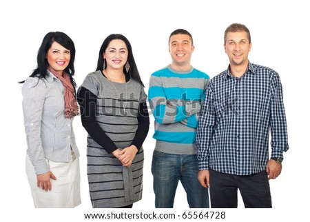Happy group of four people standing in a row isolated on white background