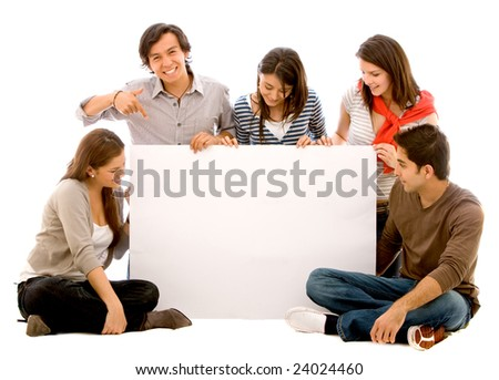 happy group of friends holding a banner ad