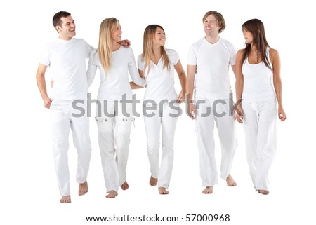 Happy group of friends in white clothes smiling - isolated