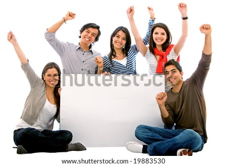 happy group of friends smiling and holding a banner add