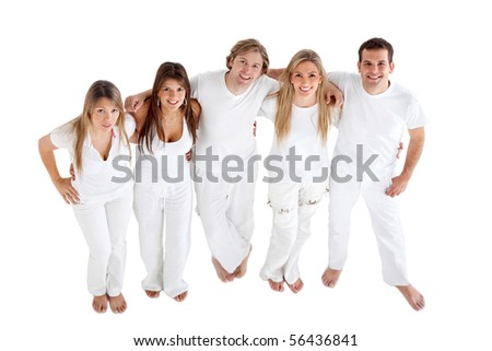 Happy group of friends wearing white clothes and smiling - isolated