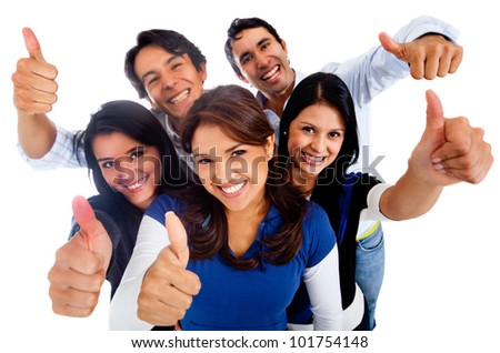 Happy group of friends with thumbs up - isolated over a white background - stock photo