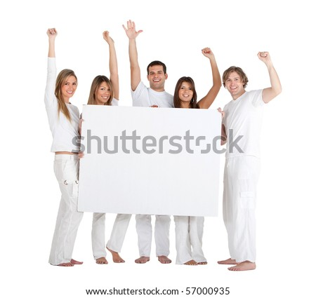 Happy group of people holding a banner isolated over a white background