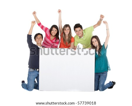 Happy group of people with a banner and arms up - isolated over a white background