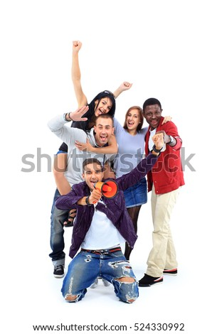 Happy group of people with arms up - isolated over white #524330992