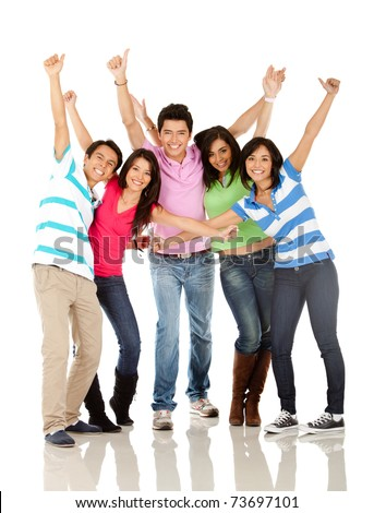 Happy group of people with arms up - isolated over white - stock photo