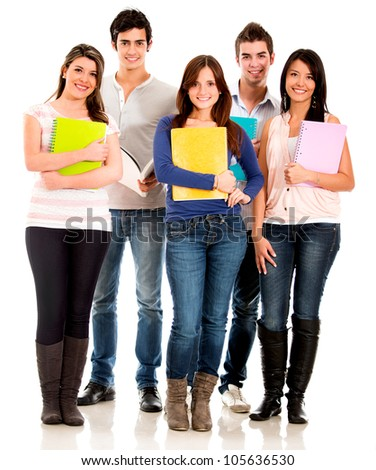 Happy group of students standing with notebooks - isolated over white