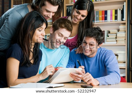college students studying. group of students studying