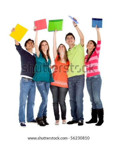Happy group of students with notebooks - isolated over a white background