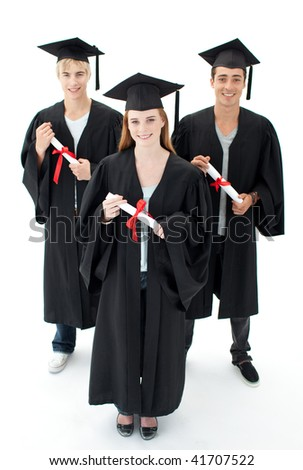 Happy group of teenagers celebrating after Graduation