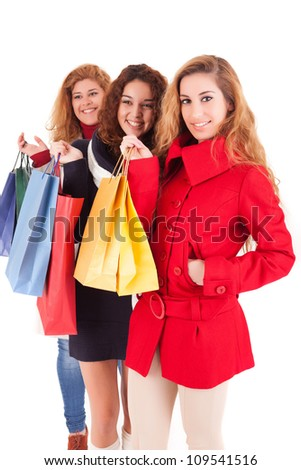 Happy group of women with a lot of shopping bags