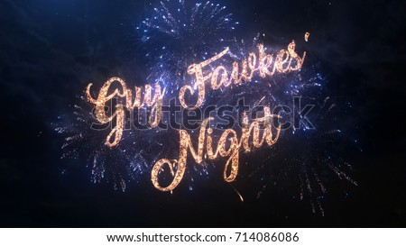 Happy Guy Fawkes' Night greeting text with particles and sparks on black night sky with colored slow motion fireworks on background, beautiful typography magic design.