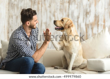 happy guy sitting on a sofa and looking at dog #499979860