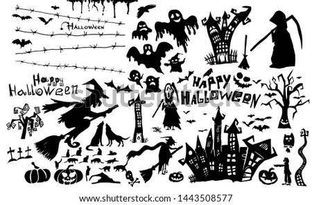 Happy Halloween. A set of character silhouettes for the holiday of Halloween. Raster illustration