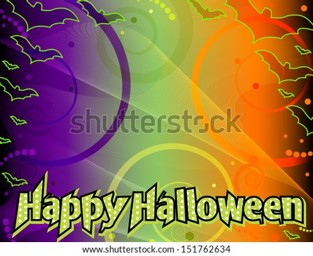 Happy Halloween background - Halloween background with Happy Halloween text, copyspace, on an abstract background with swirls and lines in green, purple and orange